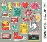 vector set of teenagers... | Shutterstock .eps vector #1867284094