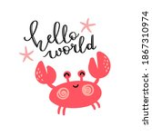 cute red crab on white... | Shutterstock .eps vector #1867310974