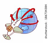 aircraft orbiting globe | Shutterstock . vector #186734384