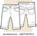 baby pants flat sketch. kid's... | Shutterstock .eps vector #1867495921