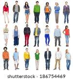 group of multiethnic diverse... | Shutterstock . vector #186754469