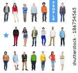 group of multiethnic diverse... | Shutterstock . vector #186754565