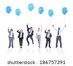 playful multiethnic business...   Shutterstock . vector #186757391