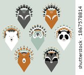 set of cute animals with... | Shutterstock .eps vector #1867578814