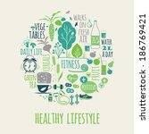 healthy lifestyle icons set | Shutterstock .eps vector #186769421