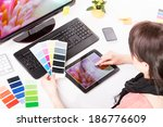 graphic designer at work. color ... | Shutterstock . vector #186776609