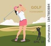 golf playing. women training... | Shutterstock .eps vector #1867883884