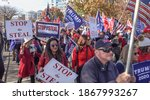 "Small photo of WASHINGTON, DC - NOV. 14, 2020: ""Voter Fraud"" rally marches to Supreme Court in support of Donald Trump, who refused to concede election. Women for America First, Stop the Steal, Million MAGA March"