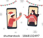 christmas video call. couple in ... | Shutterstock .eps vector #1868132497