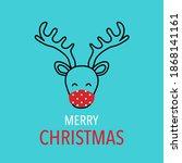 reindeer wearing red medical... | Shutterstock .eps vector #1868141161