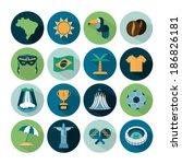set of vector brazil icons | Shutterstock .eps vector #186826181