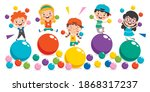 funny kid playing with colorful ...   Shutterstock .eps vector #1868317237