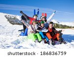 sitting friends with snowboards ... | Shutterstock . vector #186836759
