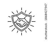 handshake line icon....