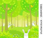Stock vector little rabbits in the summer wood 186843881