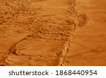 Hanford, United States - October 13 2013 : The san Andreas vault line reason for so many earth quakes is good visibly in the dried out plains desert