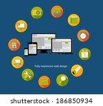 responsive web design icon. ... | Shutterstock . vector #186850934