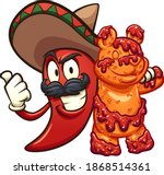 mexican chili pepper holding a...   Shutterstock .eps vector #1868514361
