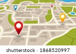 city map. navigation plan with... | Shutterstock .eps vector #1868520997