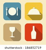 modern flat food icon set for... | Shutterstock . vector #186852719