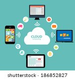 cloud computing concept on... | Shutterstock . vector #186852827