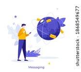 man holding smartphone  globe... | Shutterstock .eps vector #1868549677