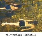 Two Girls Swimming Underwater...