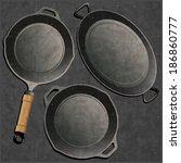 cookware set. retro vector. | Shutterstock .eps vector #186860777