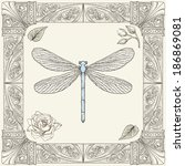 Hand Drawing Dragonfly Rose...