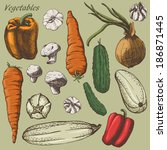vegetables set by hand | Shutterstock .eps vector #186871445