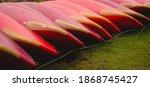 Large Red Plastic Kayaks Tied...