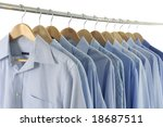 blue shirts on hangers | Shutterstock . vector #18687511