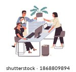 colleagues communicating at... | Shutterstock .eps vector #1868809894