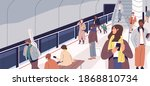people waiting for train on... | Shutterstock .eps vector #1868810734