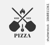 pizza logo with oven shovel.... | Shutterstock .eps vector #1868811361