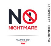 warning sign  no nightmare ... | Shutterstock .eps vector #1868825794
