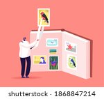 tiny philatelist male character ... | Shutterstock .eps vector #1868847214