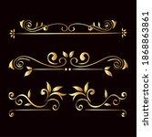 gold ornament icon set on black ... | Shutterstock .eps vector #1868863861