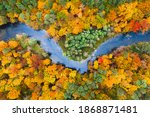 Blue River And Colorful Autumn...