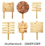 collection of wooden sign... | Shutterstock . vector #186891089