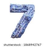 Number 7 3d Sci Fi Logo. Cyber...