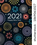 colorful fireworks 2021 happy... | Shutterstock .eps vector #1869061027