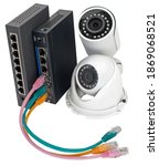 IP security cameras, LAN cables and routers on white background - stock photo