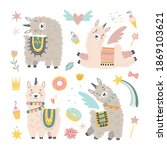 isolated set with cute llama ... | Shutterstock .eps vector #1869103621