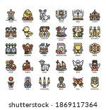 set of easter thin line and... | Shutterstock .eps vector #1869117364