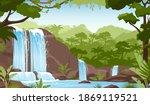waterfall in green jungle... | Shutterstock .eps vector #1869119521