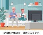 elderly senior people home...   Shutterstock .eps vector #1869121144