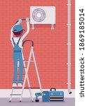 air conditioner outdoor unit... | Shutterstock .eps vector #1869185014