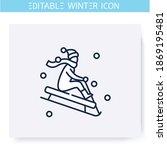 sledding line icon. man or... | Shutterstock .eps vector #1869195481