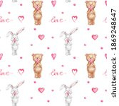 Seamless Pattern Teddy Bear And ...